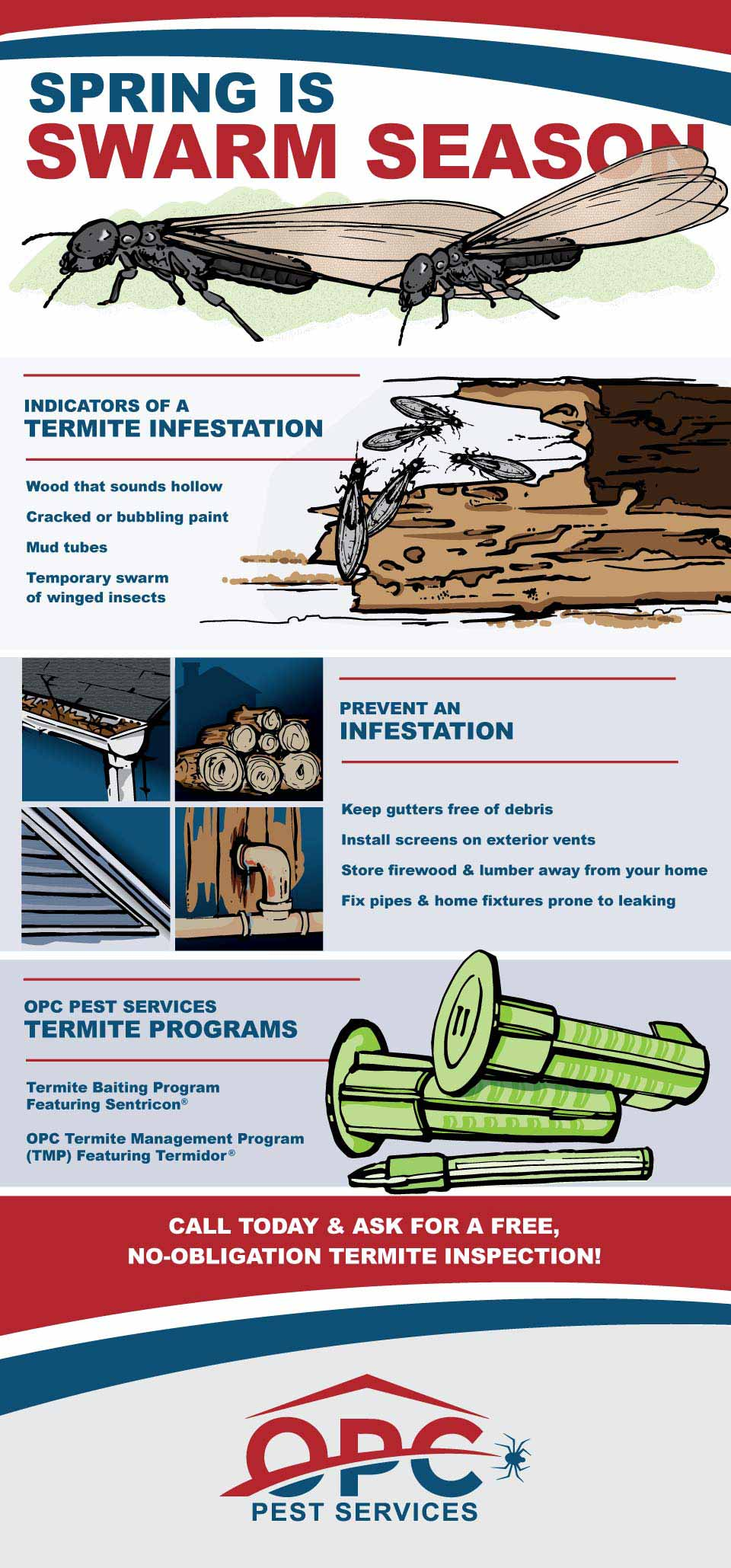 OPC Pest Services - Termite Swarms Graphic