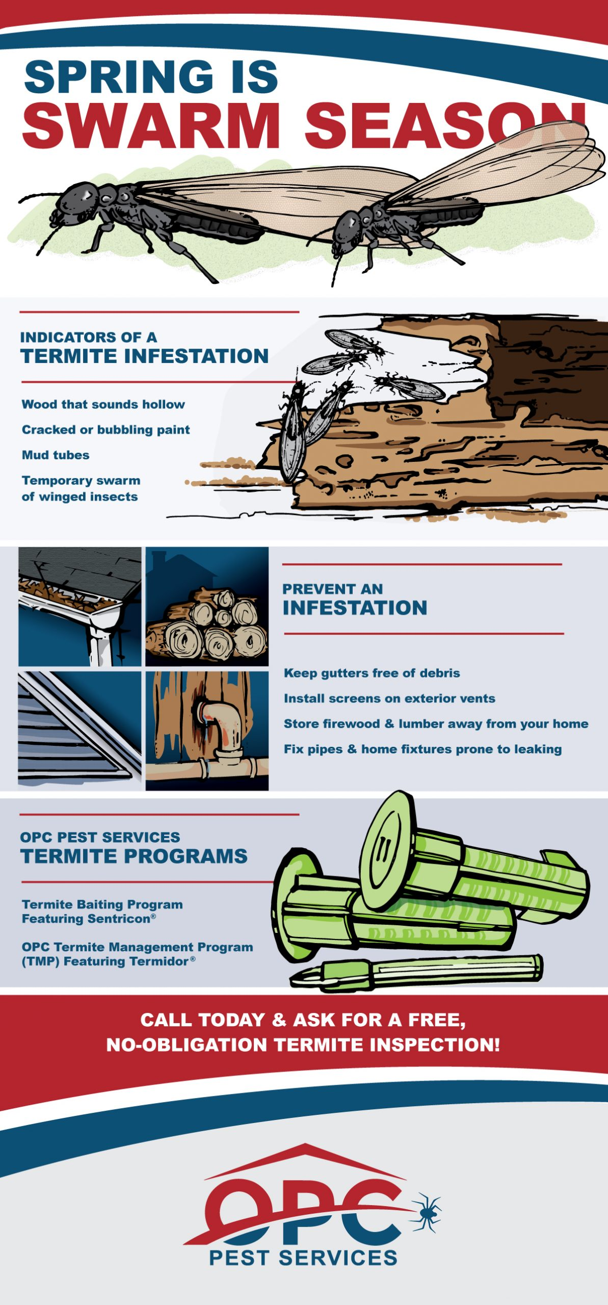 OPC Pest Services - Termite Swarms Infographic